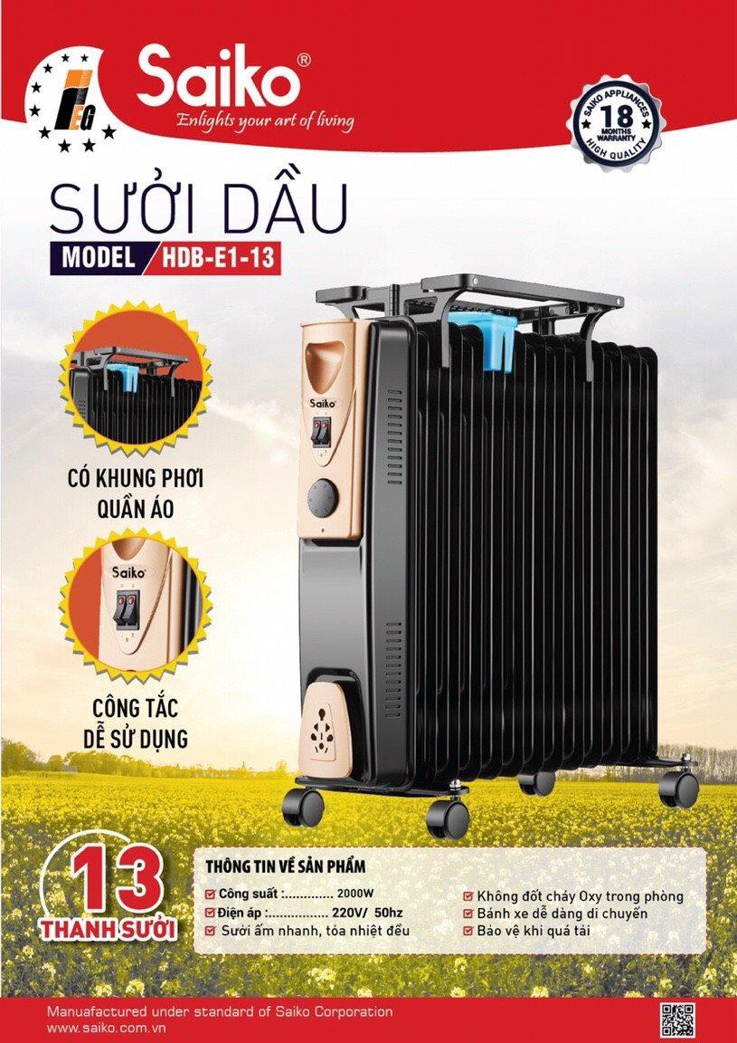 Máy sưởi dầu SAIKO OR 5213T 13 thanh